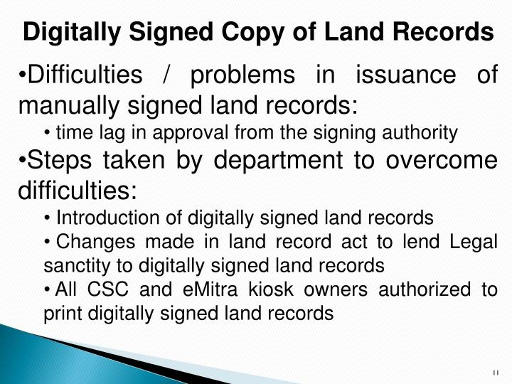 Digitally Signed Copy of Land Records