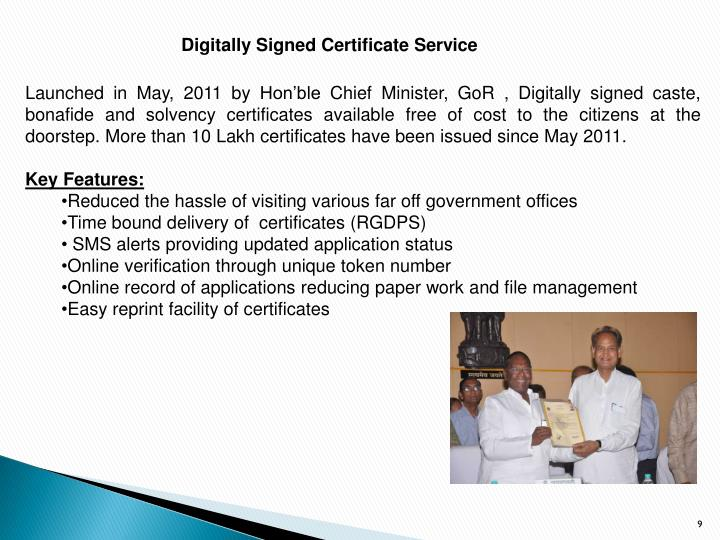 Digitally Signed Certificate Service