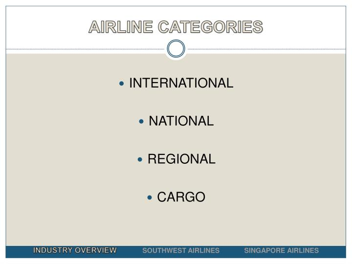 AIRLINE CATEGORIES