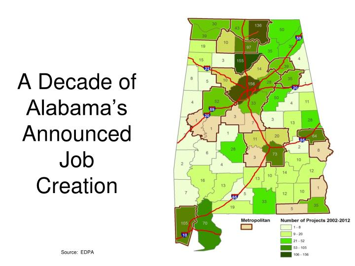 A Decade of Alabama's Announced Job Creation