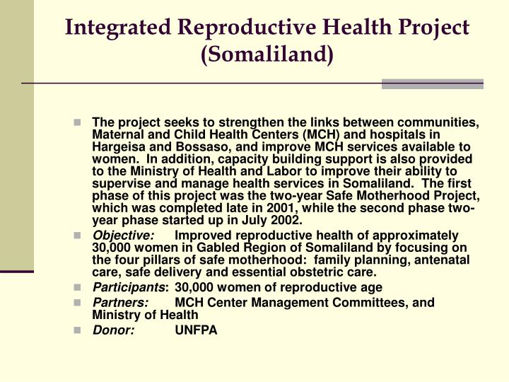 Integrated Reproductive Health Project (Somaliland)