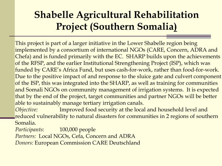 Shabelle Agricultural Rehabilitation Project (Southern Somalia
