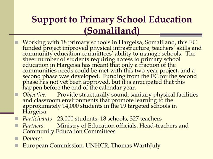 Support to Primary School Education (Somaliland)