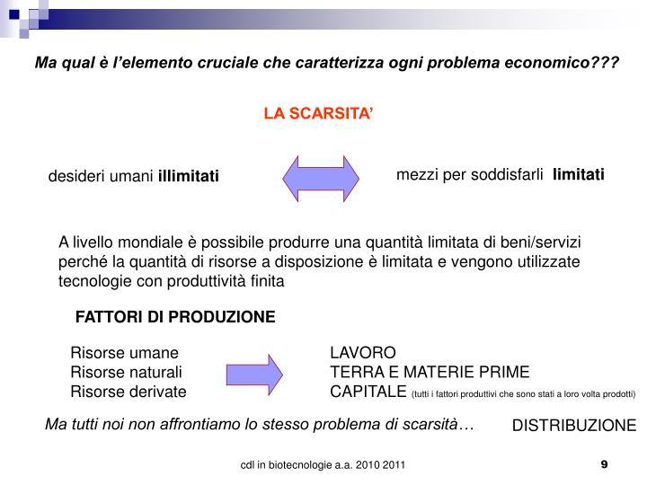 Ma qual è l'elemento cruciale che caratterizza ogni problema economico???