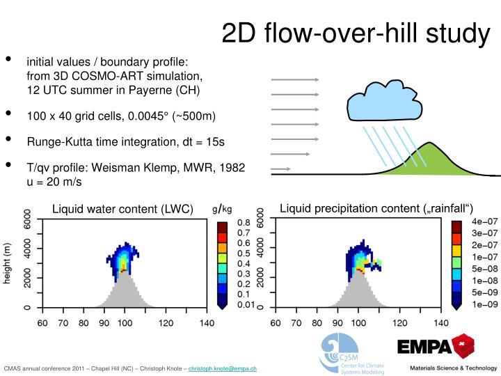 2D flow-over-hill study