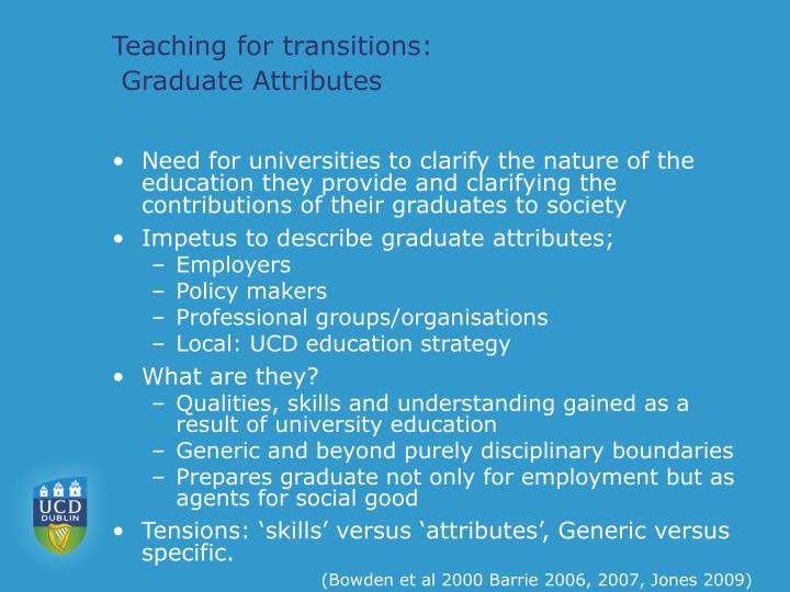 Teaching for transitions graduate attributes