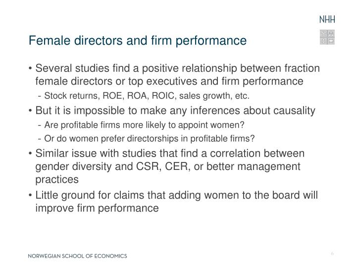 Female directors and firm performance