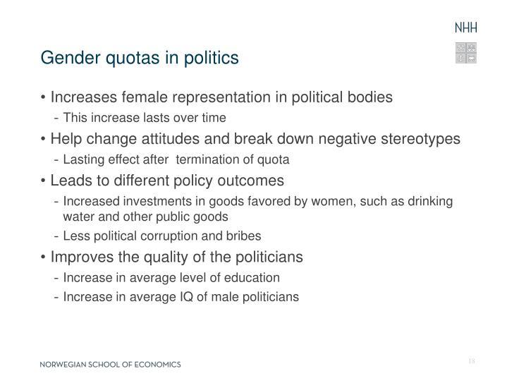 Gender quotas in politics