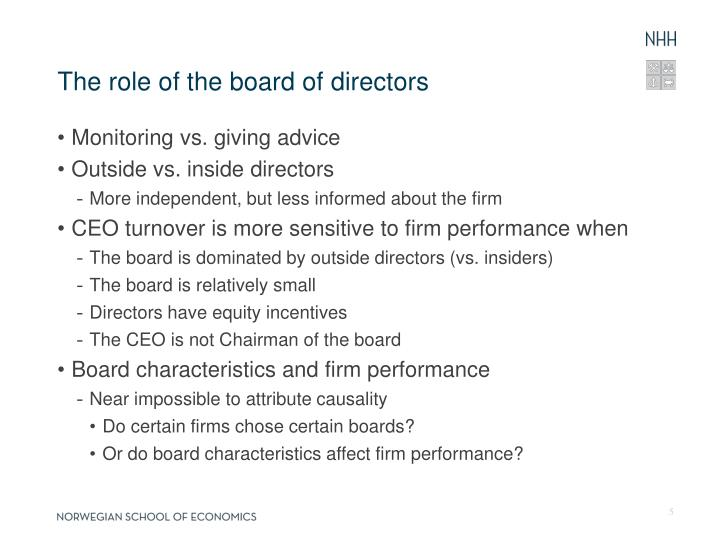The role of the board of directors
