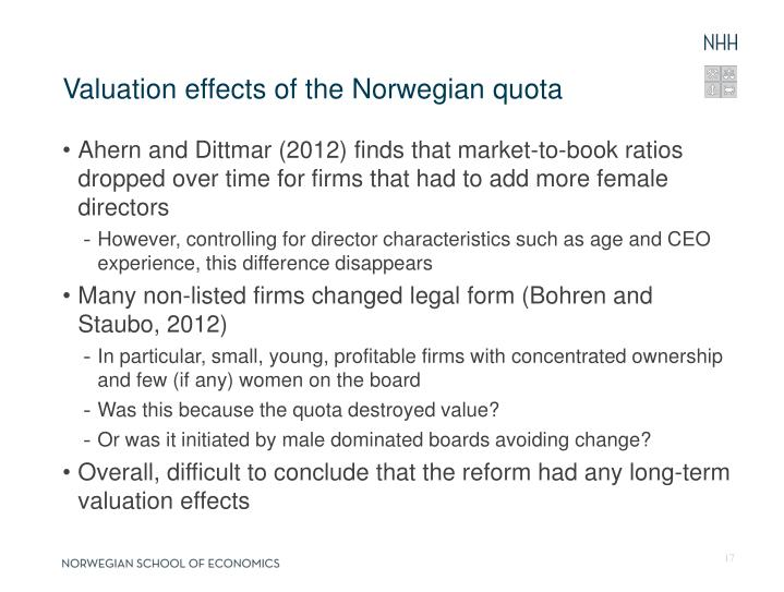 Valuation effects of the Norwegian quota