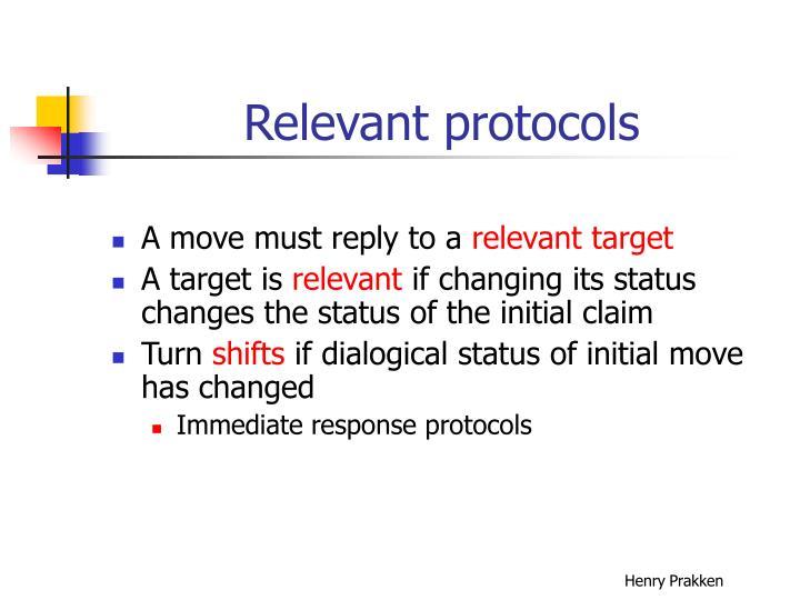 Relevant protocols
