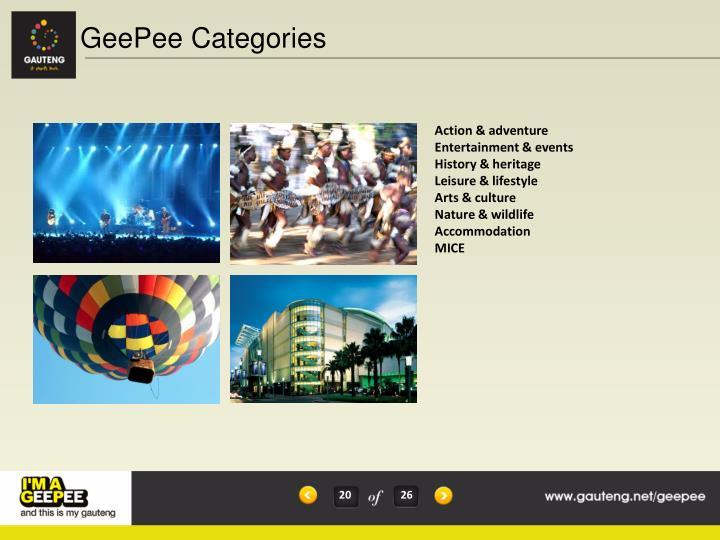 GeePee Categories