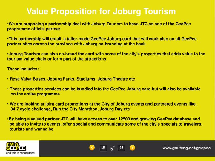 Value Proposition for Joburg Tourism