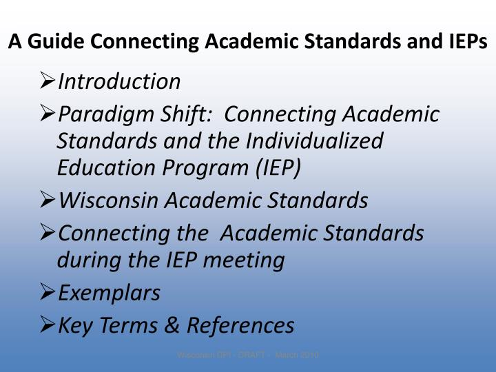 A Guide Connecting Academic Standards and IEPs