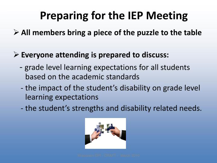 Preparing for the IEP Meeting