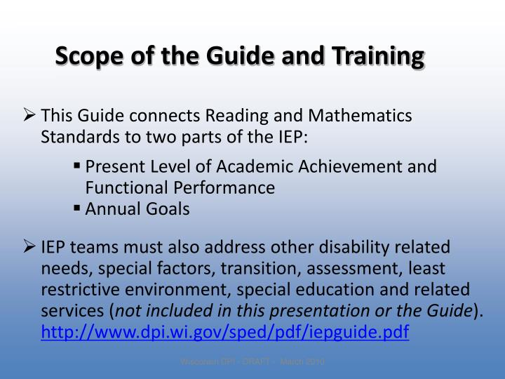 Scope of the Guide and Training