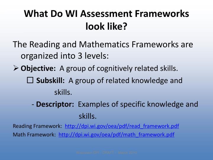 What Do WI Assessment Frameworks