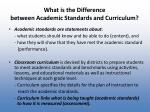 what is the difference between academic standards and curriculum