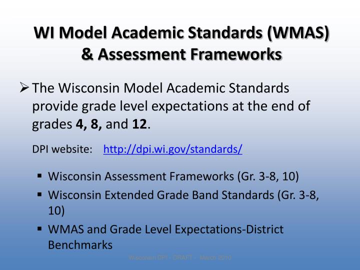 WI Model Academic Standards (WMAS)