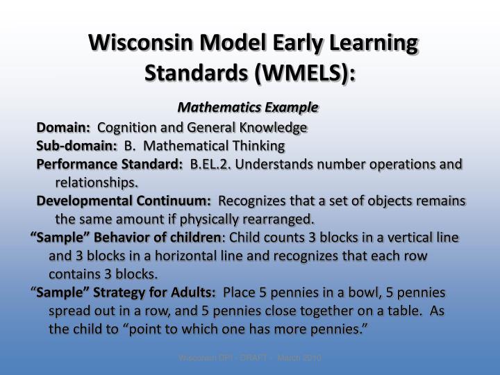 Wisconsin Model Early Learning