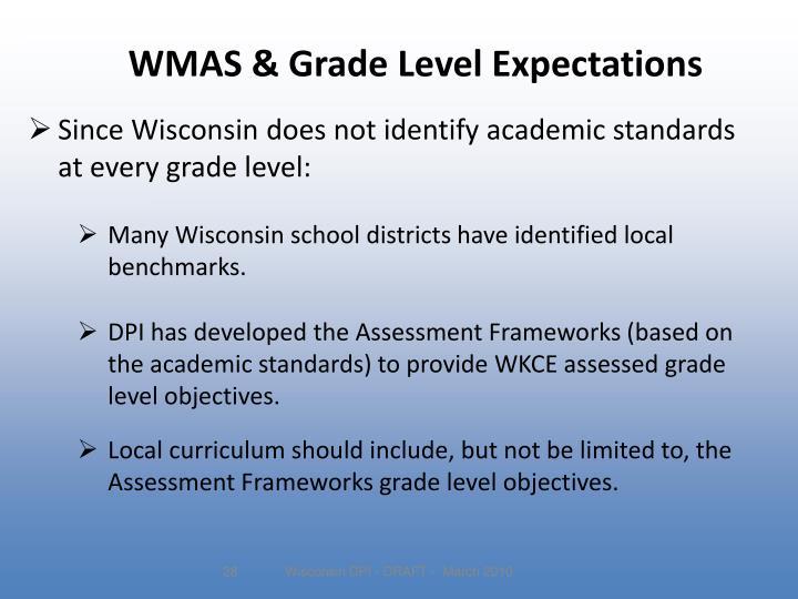WMAS & Grade Level Expectations