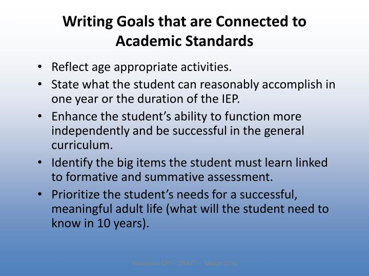 Writing Goals that are Connected to