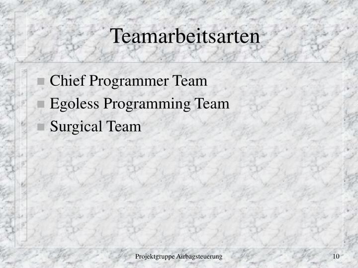 Teamarbeitsarten