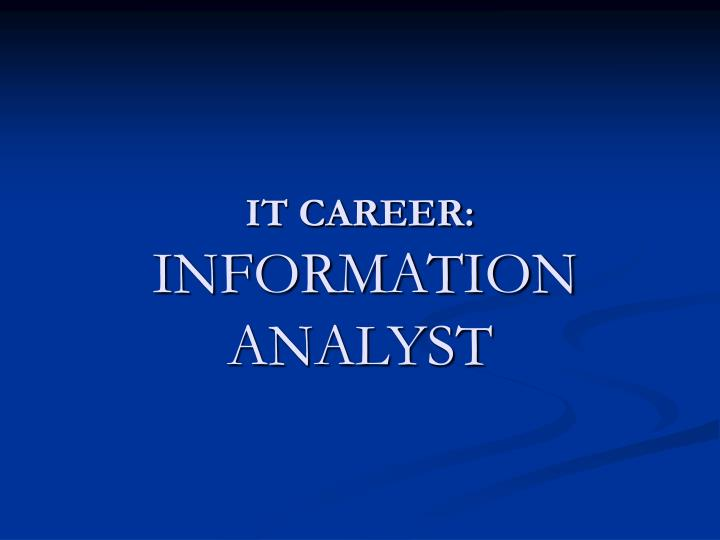 it career information analyst