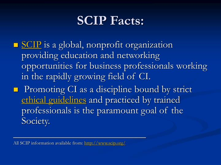 SCIP Facts: