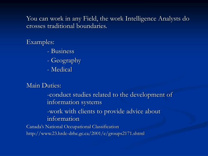 You can work in any Field, the work Intelligence Analysts do crosses traditional boundaries.