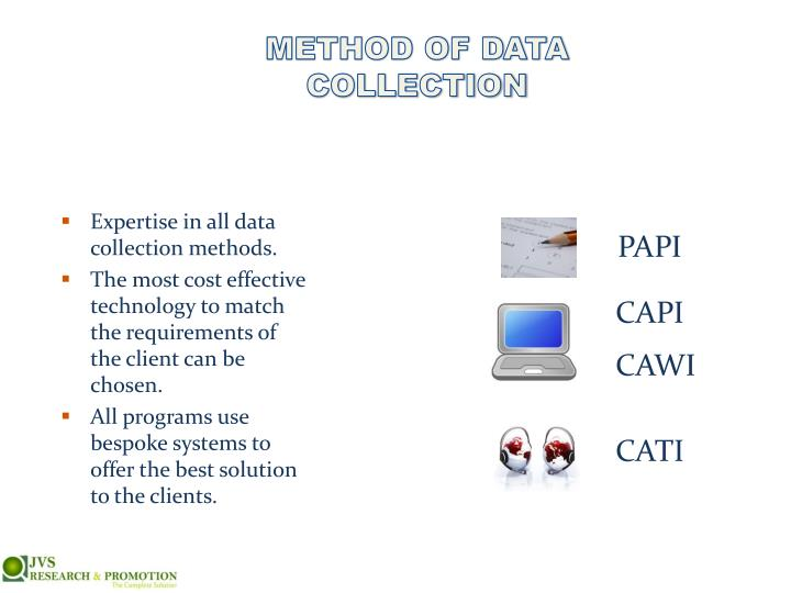 METHOD OF DATA COLLECTION