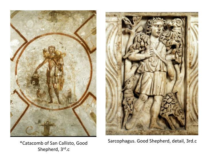 Sarcophagus. Good Shepherd, detail, 3rd.c