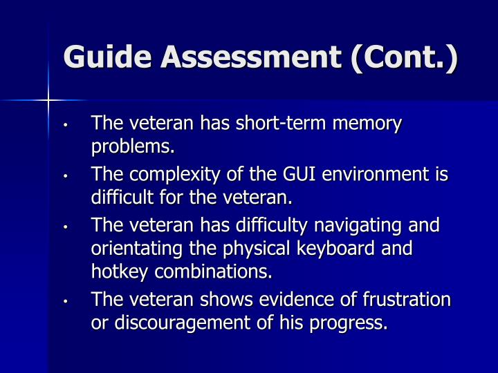 Guide Assessment (Cont.)
