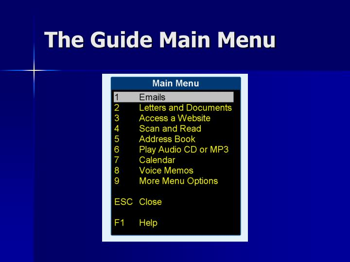 The Guide Main Menu