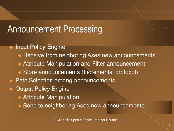 Announcement Processing