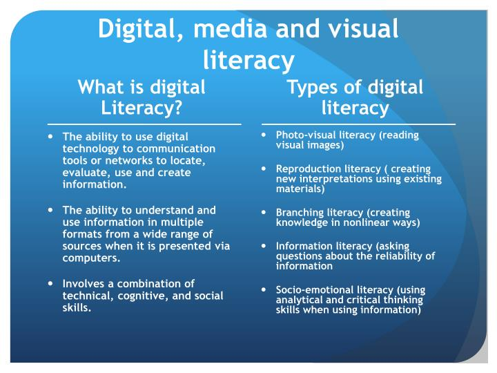Digital, media and visual literacy