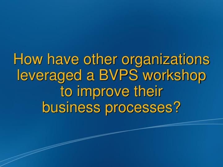 How have other organizations leveraged a BVPS workshop to improve their