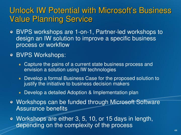 Unlock IW Potential with Microsoft's Business Value Planning Service