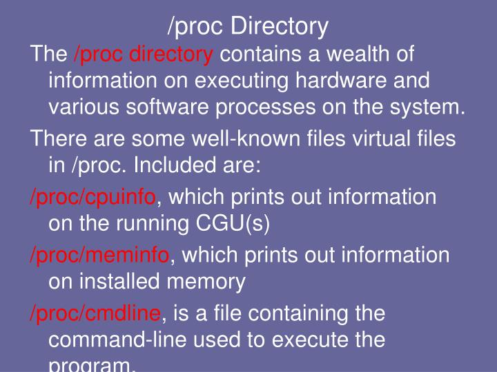 /proc Directory