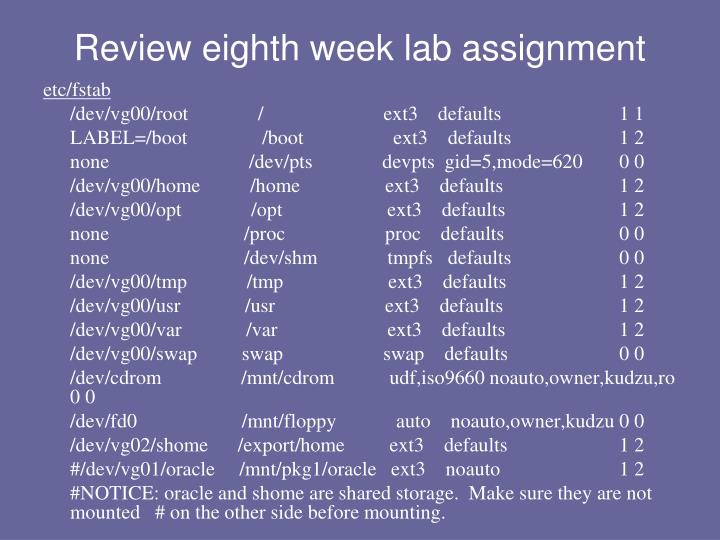 Review eighth week lab assignment