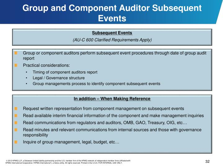 Group and Component Auditor Subsequent Events