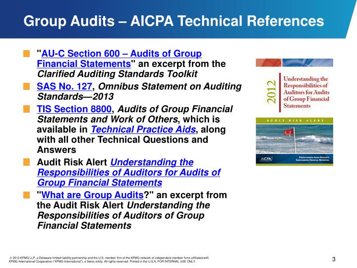 Group audits aicpa technical references