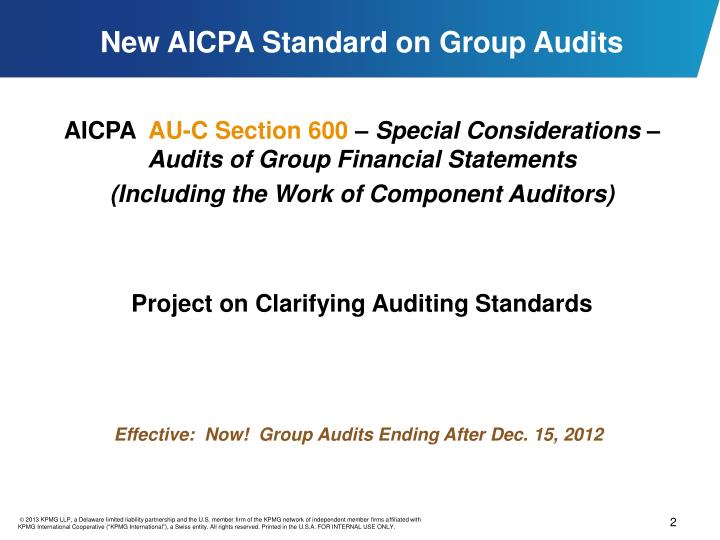 New aicpa standard on group audits