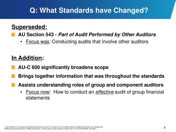 Q: What Standards have Changed?