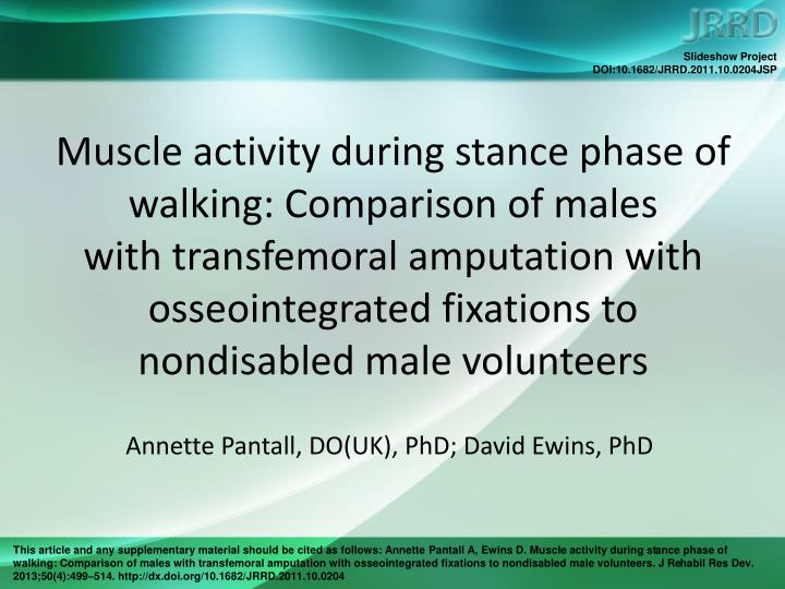 Muscle activity during stance phase of walking: Comparison of males
