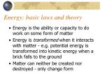 energy basic laws and theory
