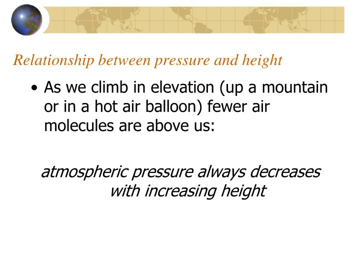 Relationship between pressure and height