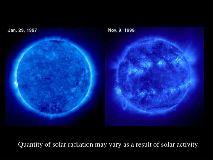 Quantity of solar radiation may vary as a result of solar activity