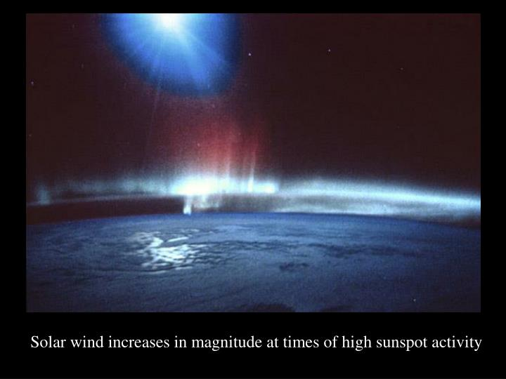 Solar wind increases in magnitude at times of high sunspot activity