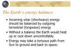the earth s energy balance